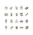 Outline fast food icons with flat color vector image vector image