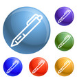 pen icons set vector image vector image
