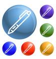 pen icons set vector image