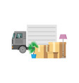 personal items packed in relocation boxes with a vector image