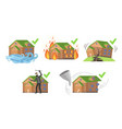 property insurance set different types house vector image vector image