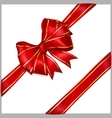 Red bow with diagonally ribbons with golden strips vector image vector image