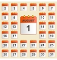 Set of icons for the calendar in August vector image vector image