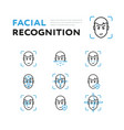 set viewer for facial recognition vector image vector image