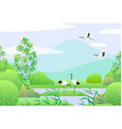 simple spring landscape with japanese cranes vector image vector image