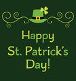 st patricks day greeting card with leprechaun set vector image vector image