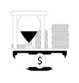 time money icon line vector image vector image
