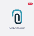 two color paperclip attachment icon from vector image vector image