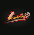typography cricket sport style sticker emblem vector image vector image