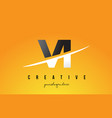 vi v i letter modern logo design with yellow vector image vector image
