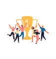 winners with golden trophy cheerful team members vector image
