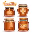 peach jam in glass jars vector image