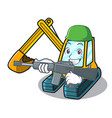 army excavator character cartoon style vector image