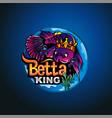 betta fish king mascot logo vector image vector image