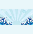 blue oriental wave japan asian vector image vector image