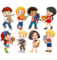 Boys and girls with their pets vector image vector image