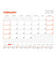 calendar template for 2018 year february business vector image vector image