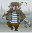 cartoon man fisherman walking with a fishing rod vector image