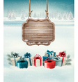 Christmas background with a retro wooden sign and