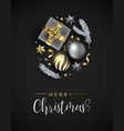 christmas card of gift and winter xmas ornaments vector image vector image