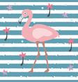 creative summer pattern with exotic bird flamingo vector image vector image