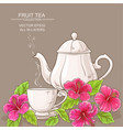 cup of hibiscus tea and teapot vector image vector image