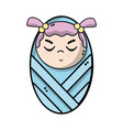 cute baby girl with hairstyle in the blanket vector image vector image