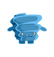 cute blue suspicious rock element cartoon vector image vector image