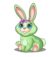 Cute green bunny with flowers and blue eyes vector image vector image
