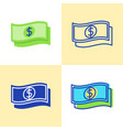 dollar banknote icon set in flat and line style vector image