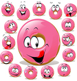 Donut cartoon with many facial expression isolated vector image vector image