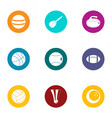 dribble icons set flat style vector image