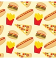 Fast food seamless pattern in flat style vector image