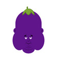 fat eggplant face avatar purple guy head vector image