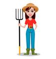 female farmer cartoon character vector image