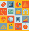 finance icons set infographics vector image vector image