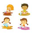 Four kids having food vector image