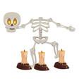 halloween skeleton bones character with candles vector image vector image