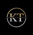 Initial kt letter logo design abstract letter kt