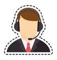 Isolated operator man with headphone design vector image vector image