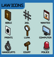 law color outline isometric icons vector image vector image