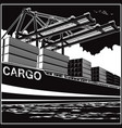 loading of containers by port cranes vector image