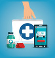 medical service on line with smartphone vector image vector image