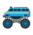 monster truck vehicle heavy blue van car vector image vector image