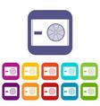 outdoor compressor of air conditioner icons set vector image vector image