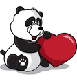 panda holding heart vector image vector image