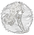 patterned of a mermaid vector image vector image