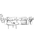 room interior sketch sofa and flowerpot vector image vector image