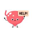 sad suffering sick cute human bladder vector image vector image