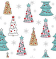seamless pattern christmas trees and snowflakes vector image